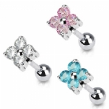 Flower Prong Set Crystal Tragus / Helix Bar