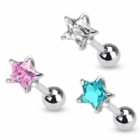 Star Crystal Surgical Steel Tragus / Helix Bar