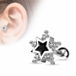 Five Crystal Enamel Star Tragus Bar
