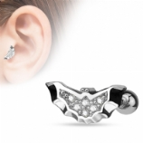Crystal Batman Shape Tragus/Helix Bar