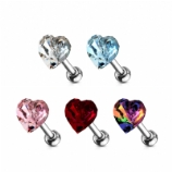 Flat Crystal Heart Tragus / Helix Bar