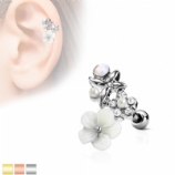 White Flower and Opalite Stones Tragus Helix Bar