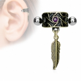 Feather Dangle Band Cuff Shield Helix / Ear Cartilage Bar
