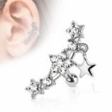 Crystal Stars Surgical Steel Helix Cartilage Bar