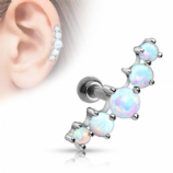 Five Opal Curve Surgical Steel Helix Ear Bar