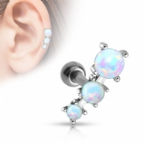 Three Opal Curve Surgical Steel Helix Ear Bar