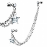 Crystal Star Cartilage & Lobe Piercing Chain