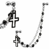 Black Cross Cartilage & Lobe Piercing Chain