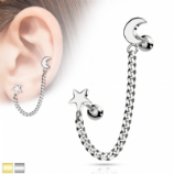 Star & Crescent Moon Cartilage & Lobe Piercing Chain