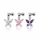 Butterfly Crystal Dangle Tragus / Helix Bar