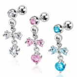 Bow Crystal Dangle Tragus / Helix Bar