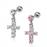 Cross Crystal Dangle Tragus / Helix Bar