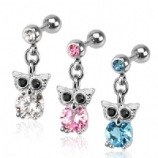 Owl Crystal Dangle Tragus / Helix Bar