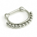 Bali Bead Trim Hinged Septum Ring Clicker - Made Entirely From Surgical Steel