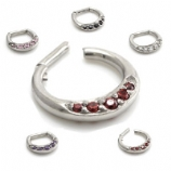 Five Crystal Hinged Septum Clicker Ring