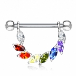 Rainbow Crystal Leaf Solitaire Dangle Shield Nipple Bar