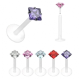 Square Crystal Push-Fit Labret