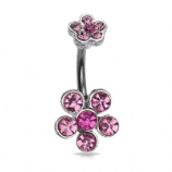Double Ended Flower Belly Piercing Bar