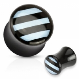 Black and Light Blue Striped Inlay Double Flared Acrylic Plug 5mm-16mm