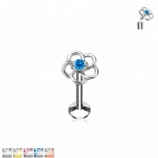 Crystal Hollow Flower Internally Threaded Micro Labret Stud - 1.2mm
