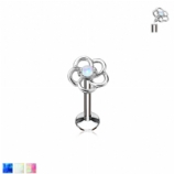 Opal Hollow Flower Internally Threaded Micro Labret Stud - 1.2mm