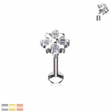 Crystal Square Top Internally Threaded Micro Labret Stud - 1.2mm