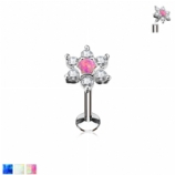 Opal Center Crystal Star Internally Threaded Micro Labret Stud - 1.2mm