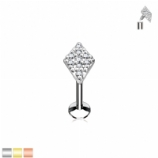 Crystal Paved Diamond Internally Threaded Micro Labret Stud - 1.2mm