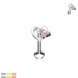 Crystal Hollow Heart Internally Threaded Micro Labret Stud - 1.2mm