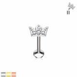 Crystal Paved Crown Internally Threaded Micro Labret Stud - 1.2mm