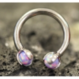 IN STOCK - Light Lavender - IS Titanium Circular Barbell With Faux Pal Ends
