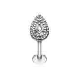 Clear Crystal Pear Millgrain End Labret Stud - 1.2mm
