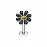 Black Enamel Flower Daisy Labret Stud - 1.2mm