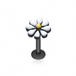 White Enamel On Black Flower Daisy Labret Stud - 1.2mm