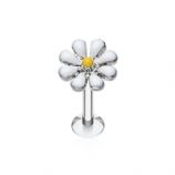 White Enamel Flower Daisy Labret Stud - 1.2mm