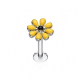 Yellow Enamel Flower Daisy Labret Stud - 1.2mm