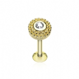 Gold Plated Clear Crystal Round Millgrain End Labret Stud - 1.2mm