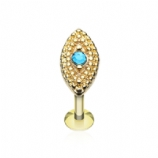 Gold Plated Blue Crystal Marquise Millgrain End Labret Stud - 1.2mm