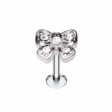 White Crystal Bow Labret Stud - 1.2mm