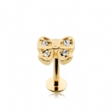 Gold Plated White Crystal Bow Labret Stud - 1.2mm