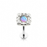 Opalescent Stone Ornate Labret Stud - 1.2mm