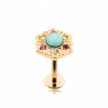 Gold Plated Turquoise Stone Crystal Labret Stud - 1.2mm