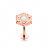 Rose Gold Opal & Iridescent Crystal Labret Stud - 1.2mm
