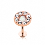 Rose Gold Round Opal Centre Crystal Labret Stud - 1.2mm