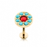 Gold Plated Turquoise & Red Crystal Labret Stud - 1.2mm