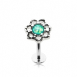 Opal Centre Filigree Flower Labret Stud - 1.2mm
