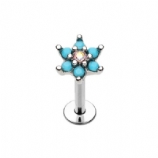 Crystal Centre Turquoise Flower Helix Stud/Labret - 1.2mm