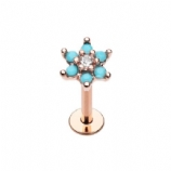 Rose Gold Crystal Centre Turquoise Flower Helix Stud/Labret - 1.2mm