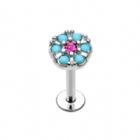 Turquoise and Fuchsia Round Crystal Helix Stud/Labret - 1.2mm