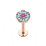 Rose Gold Plated Turquoise and Fuchsia Round Crystal Helix Stud/Labret - 1.2mm